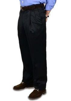 BERLE Black Super 100s Gabardine Trouser