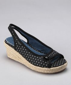 Black & White Polka Dot L'escape Espadrille on Zulily.  How cute are these?