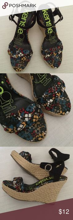 """Kensie Girl Sandals Cute stand-out wedges with a sweet floral strap!  About 4.5"""" heel. Kensie Girl Shoes Wedges"""