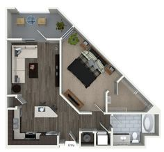 1 bedroom 1 bathroom floorplan at 555 Ross Avenue Apartments in Dallas, TX.
