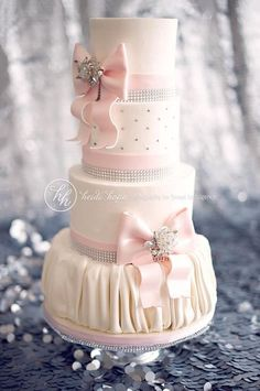 pale pink wedding invitations | pale pink bling see more about bow wedding cakes wedding cakes and ...
