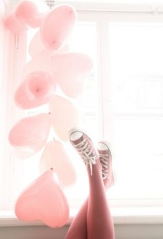 Pink, heart shaped balloons & pink Converse shoes. | (via milkystawberry)
