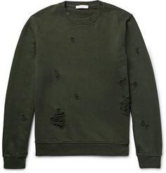 SANDRO Distressed Loopback Cotton-Jersey Sweatshirt. #sandro #cloth #sweats