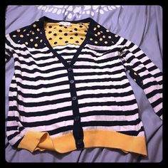 Polka dot and striped cardigan Navy blue and white striped cardigan with yellow and nave blue polka dots. The elbows have cute patches. Button up. Pink Rose Sweaters Cardigans