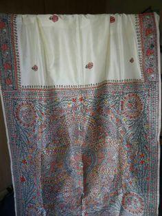 Madhubani painting on pure banglori silk saree. For queries kindly whatsapp at 00447889562384.