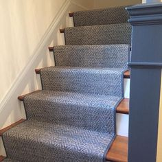 Just installed! Couristan's classic indoor/outdoor pattern, Tortola in color ash was expertly fabricated with narrow sunbrella binding and installed on a client's staircase.  Loved receiving this comment from the client, I was so happy when I walked down