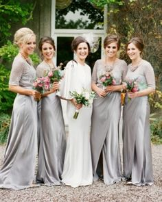 Gray Overlay Bridesmaids Gowns | Katie Stoops Photography featured in Martha Stewart Weddings