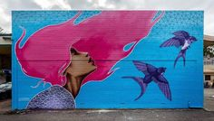 STREET ART - WOMAN AND BIRDS (Straatkunst) #streetart