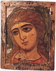 "Pyhä Ylienkeli Gabriel, Novgorodin koulu, 1100-luku. 12th-century icon of Archangel Gabriel from Novgorod, called ""Golden-Locked Angel"", currently exhibited in the State Russian Museum."