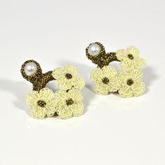 JJ Caprices - Hand Crocheted Flower Earrings - Ivory