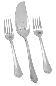 Cathy's Concepts 'Mrs. & Mrs.' Personalized Cake Server & Forks Set - Grey