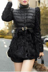 Ladylike Jewel Neck Lace and Faux Fur Splicing Long Sleeve Coat with Belt For Women