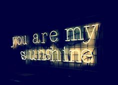 the quote 'You Are My Sunshine' as a neon sign