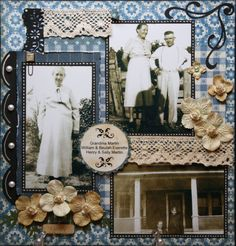 Family ~ Pretty heritage page with a lively mix of blue patterned papers, lace strips and dimensional flowers.