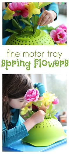 Spring Flower Fine Motor Tray Activity I LOVE THIS! What a fun way to use a colander. Fine motor activity for spring at preschool. The post Spring Flower Fine Motor Tray Activity appeared first on Ideas Flowers. Dementia Activities, Motor Skills Activities, Montessori Activities, Baby Activities, Elderly Activities, Physical Activities, Toddler Fine Motor Activities, Easter Activities For Toddlers, Learning Activities
