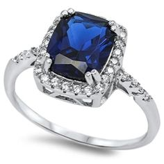 Classic 4.00 Carat Emerald Cut Deep Blue Sapphire Round White Topaz Diamond Accent Dazzling Halo Engagement Anniversary Cocktail Ring