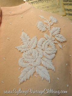 Vintage 50's Beaded Cardigan Sweater SydneysVintageClothing.com