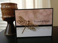 Stampin Up Dragonfly Dreams, Handmade All Occasion, Friend Card, Simply Falling Embossing Folder, Lace