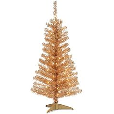 4 PreLit Medium Champagne Tinsel Artificial Christmas Tree  Clear Lights *** This is an Amazon Affiliate link. Read more reviews of the product by visiting the link on the image.