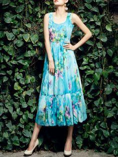 Shop Midi Dresses - Blue Crew Neck Chiffon Casual Midi Dress online. Discover…