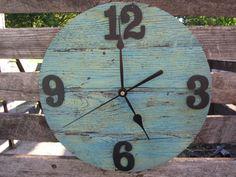Repurposed Wood Pallet Clock Oak  Lt Blue by VictoryWoodShop, $35.00