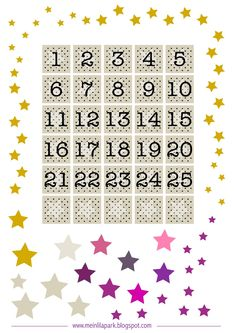 FREE printable advent calendar numbers and stars ^^