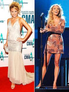 2006 She shows up in a slightly baggy, printed-and-pleated gown and a prom-perfect updo. But lest you forget she's a bombshell with a smokin' hot body, Carrie then shakes out her hair and hikes up her hemline. Carrie Underwood Cma, Country Music Awards, Cma Awards, All American Girl, Hot Pants, Her Hair, Carry On, Peplum Dress, Glamour