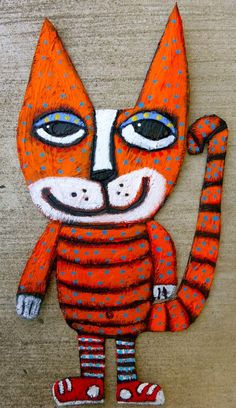 Tracey Ann Finley Original Outsider Folk Painting Cool Kitty Cat Sneakers CBB #5 #OutsiderArt