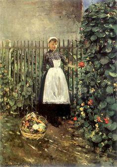 Olga Boznanska (Polish Impressionist painter, 1865-1945) Dziewczynka z koszem jarzyn w ogrodzie 1891