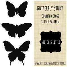 Modern Cross Stitch Pattern  Butterfly Study  by StitchesLittle, $3.00