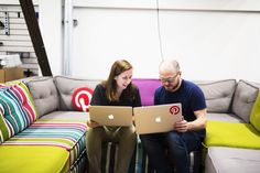 Pinterest Unveils Its New Spam-Fighting Tool  -- Marty Weiner, employee Number 2 at Pinterest, needed a better way to fight spam on the popular internet-scrapbooking site. Weiner and his colleagues went to work, found a great service which is now widely used on Pinterest. It identifies/eliminates bogus posts. Pictured; Jessica Aylward and Chris Walters, of the Pinterest Spam Team, (photo by Victor Ng, Pinterest)