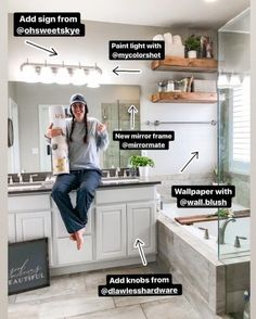 Just by adding some cosmetic changes you can really change up a space.  Check out the 6 things we did to change our bathroom! Diy Bathroom Decor, Budget Bathroom, Master Bathroom, Bathroom Ideas, Black Vanity Light, Vintage Stool, Decorating Your Home, Interior Decorating, Decorating Ideas