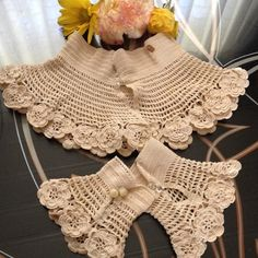 Victorian Vintage Crochet Collar & Cuffs Set Incredible Victorian vintage collar and cuffs set. Beautiful ivory crochet with big flowers around the bottom edge, and tight crochet around the neck and wrist. Fastens with amazing clear faceted crystal buttons that come to a teardrop point. One cuff has mother of pearl buttons. Excellent condition. There is one spot on the collar (see photo). Spectacular set, perfect for weddings or a blushing bride! They look great with just about anything…