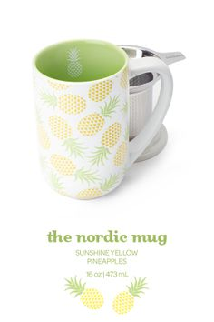SUMMER 2014 - This mug with lid and infuser comes in a sunny yellow pineapple design. Pineapple Art, Pineapple Design, My Coffee, Coffee Cups, Fruit Nail Art, Davids Tea, Cute Fruit, Tea Cozy, Cute Mugs