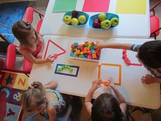 A fun shape learning/recognition activity. Just tape each shape on a table or the floor and then with a bucket of shapes allow the kids to categorize them.