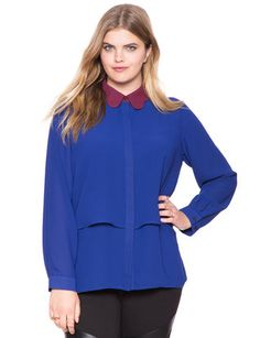 Scalloped Collar Blouse | Women's Plus Size Tops | ELOQUII