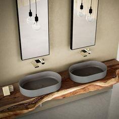 Sit on top washbasin colored Arenaria - Bath Wash basin: installation on top x 40 x Sanitary ware collection Shui Comfort design Paolo d'Arrigo for Ceramica Cielo Bathroom Taps, Modern Bathroom, Small Bathroom, Bathroom Lighting, Bad Inspiration, Bathroom Inspiration, Washbasin Design, Comfort Design, Suites