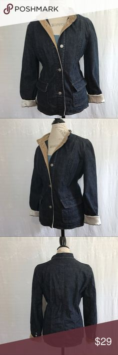 Liz Claiborne • Denim Jacket Excellent used condition! Blue denim with tan velvet trim. No collar. Interior sleeves are satin and interior lining is a beautiful cotton print. Liz Claiborne Jackets & Coats Jean Jackets
