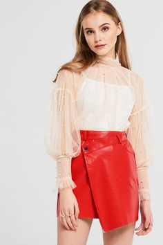 Brenda Wrap Leather Skirt Discover the latest fashion trends online at storets.com #fashion #wraps #leatherskirt #skirts #storetsonme
