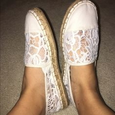 White lace espadrilles Worn once in great condition feel free to make offers! Shoes Espadrilles