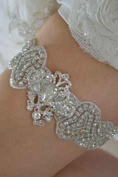 ABBIE VINTAGE CRYSTAL LACE GARTER Wedding Bride Rhinestone Luxury Glam Diamante
