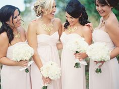 bridesmaids in blush pink with gold accessories Photography: Leslie-Hollingsworth.com  -- See More on SMP: http://www.StyleMePretty.com/2014/05/28/classic-blush-colored-wedding-in-florida/