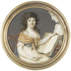 A Lady, seated, wearing white dress with frilled trim to her décolleté, pale yellow shawl edged with teal draped about her shoulders by Pierre Chasselat, France. c. late 18th century