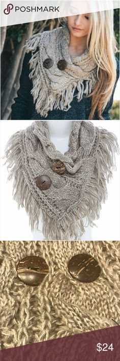"""So Soft Chic Mocha Neck Shoulder Warmer Scarf Gorgeous mocha neck/shoulder warmer with fringe & coconut buttons. 100% acrylic 30"""" x 6.5"""" blanket - Available in Charcoal Gray & Ivory in separate listings. BUNDLE & SAVE Accessories Scarves & Wraps"""