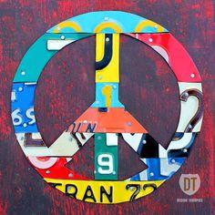 Peace Sign License Plate Art - Handmade Original Recycled Vintage Artwork