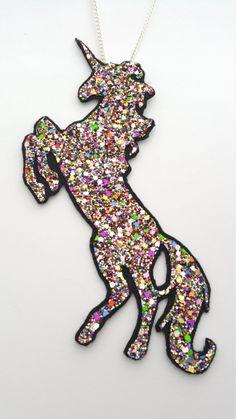 Unicorn and Rainbow Glitter Necklace - FREE UK SHIPPING
