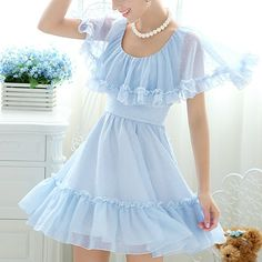 Vintage Scoop Neck Ruffles Cape Design Solid Color Chiffon Women's Dress, AZURE, L in Vintage Dresses | DressLily.com