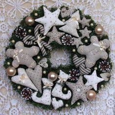 Купить Новогодний венок - бежевый, венок, новогодний венок, рождественский венок, новогодний интерьер, серый
