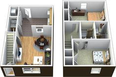 Projeto econômica de sobrado com 2 quartos, para terrenos pequenos