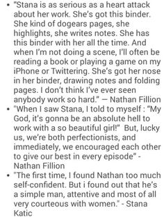 Nathan and Stana quotes